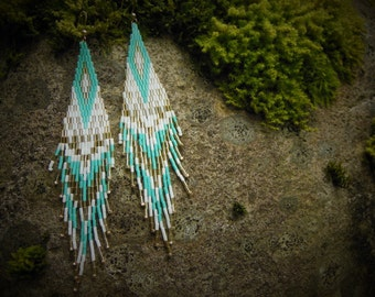 Turquoise Feathered Woven Earrings