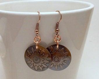 Antiqued Copper Earrings, Etched Copper Earrings, Copper Earrings