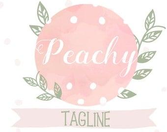 Peachy Premade Blog Header   Watercolor   Premade Logo