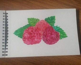 Watercolor painting raspberry, raspberry painting, original watercolor painting, kitchen art, fruit art, wall decor