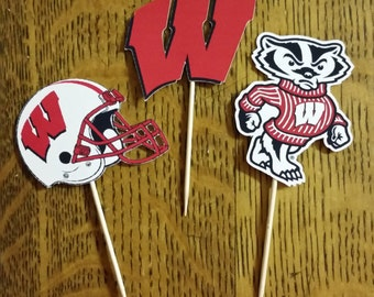 Cupcake toppers, party supplies, Wisconsin Badgers, football, sports