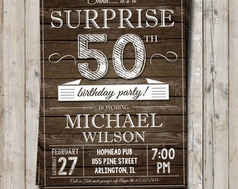 Surprise 50th birthday invitation - personalized for your party - digital / printable DIY audult birthday invite