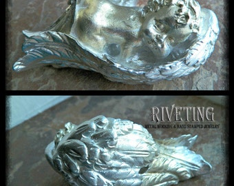 Hand cast pewter babe in angel wings