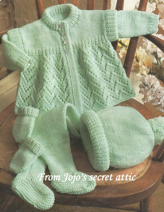 Digital Knitting Patterns : Vintage Double knitting pattern for Pram Set from CaledonianSpirit on Etsy St...