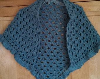 hand crocheted lady's shawl