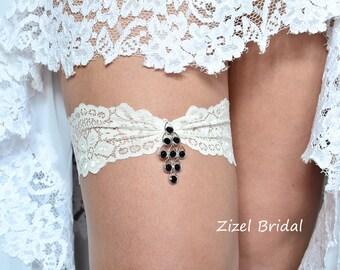 Ivory Garter Set Black Wedding Clothing Lace Garte Bridal