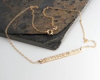 Long Bar Necklace, Hammered Long Stick Pendant, Gold Necklace, Gold Bar, Handmade necklace, Gold Minimalist Jewelry, Lariat Necklace