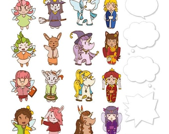 Board of stickers 001 - Size A4 - Kokeshi - Unicorn - Fairy - Bunny