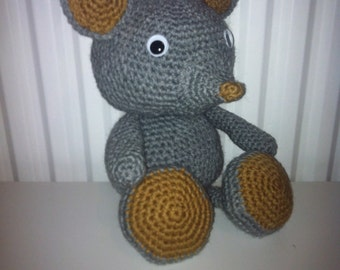 Large Grey Mouse, Handmade Soft Toy, Crochet Mouse, Amigurumi Mouse, Grey and Tan