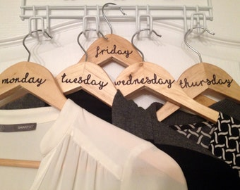 Wooden Weekday Clothes Hangers