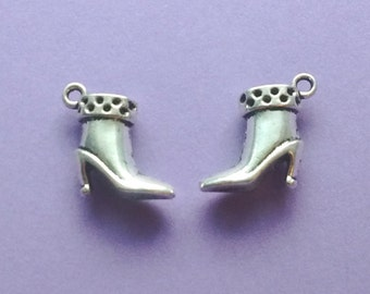 10 Boot Charms Silver Ankle Boot Charm High Heel Boot Charm - CS2093