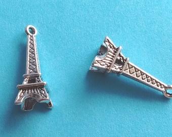 10 Eiffel Tower Charms Silver - CS3055