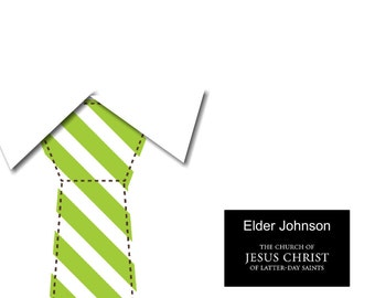 Elder Missionary Stationary- LDS necktie and tag