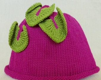 Hand-Knit ,Pink Beet, Baby Hat