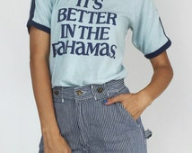 1970's Vintage It's Better In The Bahamas Soft Ringer Tee