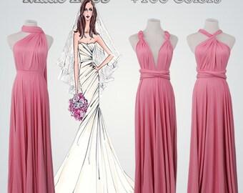 Full Length Convertible Dresses,Dark Pink Dress,Pink Convertible Dress,Convertible Wrap Dress,Infinity Dress