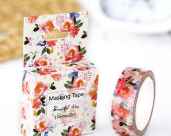pink flroal- Washi Tape, Masking Tape, Planner Stickers