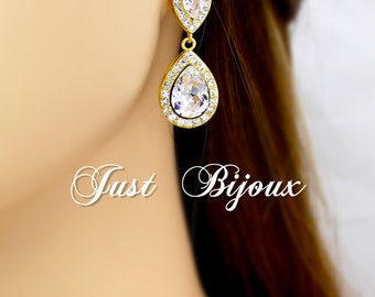 Wedding Earrings 14K gold plated Swarovski Crystal Earrings Bridesmaid Earrings Bridal Earrings Wedding Earrings Wedding Jewelry Accessory