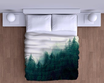 Misty Forest Mountain Duvet Cover - Super Soft Duvet