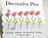 Decorative Sewing Pins - Fancy Sewing Pins - Flower Pin Toppers - Scrapbooking Pins - Push Pins - Bulletin Board Pin - Gift for Quilters