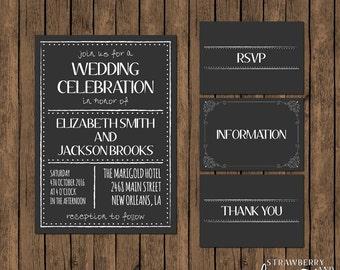 Printable Wedding Invitation Suite, Chalkboard Wedding Invitation, RSVP, Thank You Card, Wedding Details Card, DIY Wedding Invitation Set