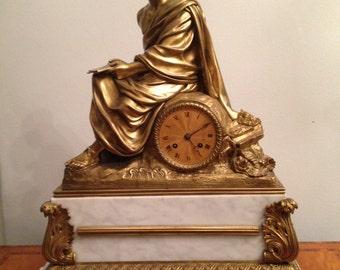 Antique Bronze Clock French Mantle Figural Marble Clock Heavy 44 Lb Circa 1850