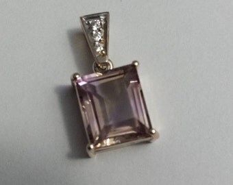 Ladies Handmade Diamond Set 9 Carat Yellow Gold and Amertrine Pendant (p5)