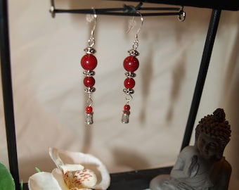 Silver earrings with red coral beads