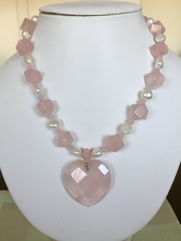 Rose Quartz Heart Necklace Vintage Lee Sands Jewelry