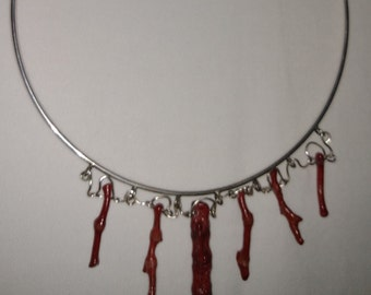 Silver and coral choker