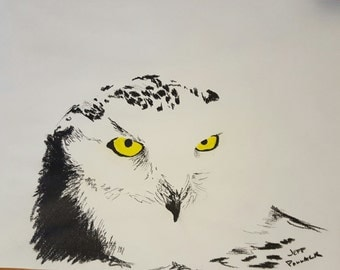 Charcoal Drawing of Snow Owl - Print 11 x 14