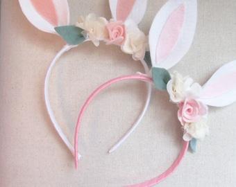 Bunny Ears- Bunny Headband- Easter Headband- Rabbit Headband- Felt Flower Headband-Bunny Ears Headband