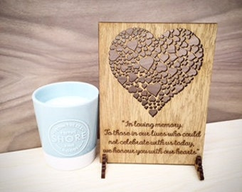 In Loving Memory Sign, Personalised Wedding Remembrance Sign, Wooden Wedding Sign with Hearts,  Wedding Memory Plaque, 04WS