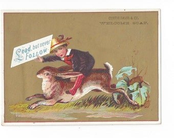 Victorian Fantasy Trade Card: Boy Riding Hare-Welcome Soap