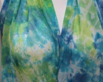 Hand Dyed Silk Scarf Blue Lime Tie Dye Chiffon Chiffon Silk Hand Painted Blue Lime