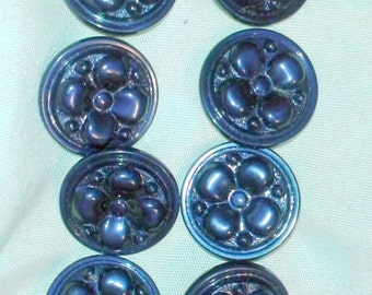 Buttons vintage, Set (Lot) 8 pieces, buttons,blue, big, flowers, from 1980