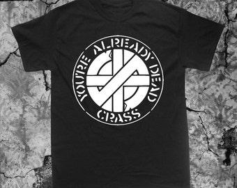 Crass T Shirt Crust Anarcho Punk Rudimentary Peni Amebix Disorder Subhumans Dirt Icons of Filth Aus-Rotten Nausea Black Flag Doom Filth