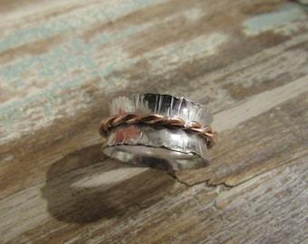 Sterling  & Copper Birch Tree Ring