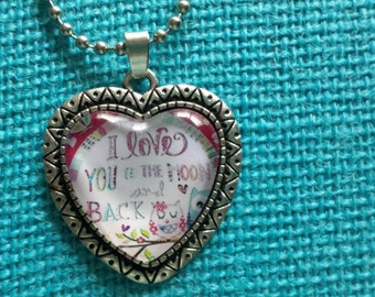 I love you to the moon and back owl necklace pendant