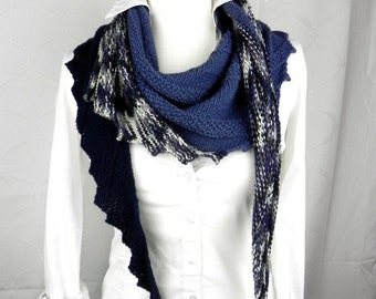 Shawl knitted scarf cloth Merino extrafine blue hand knitted