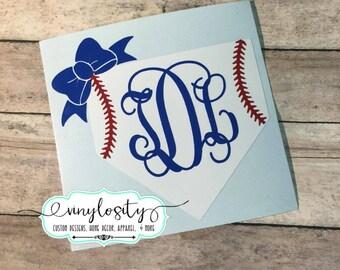 Baseball Decal | Softball Decal | Baseball Monogram | Softball Monogram | Baseball Yeti Decal | Baseball Car Decal | Home Plate Monogram