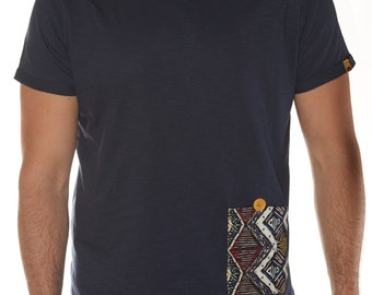 Blue t-shirt with Pocket in ethnic design