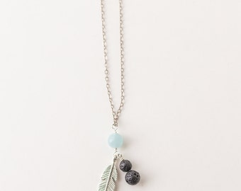 Essential Oil Diffuser Necklace · Feather, Aquamarine or Moonstone and  Lava Bead Necklace ·Aromatherapy