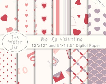 Digital Paper Pack SEAMLESS Valentines Day, Project Life, Commercial Use Digital Paper Pack with Seamless Heart Designs