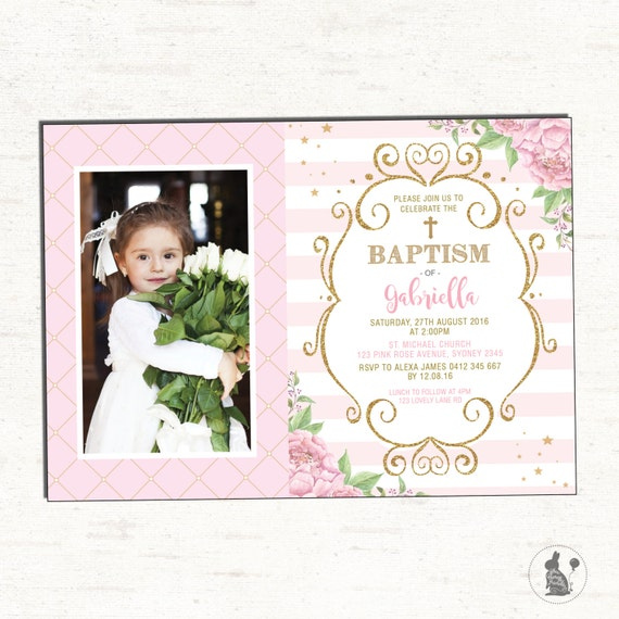 Baptism Invitation Girl Pink and Gold Floral Christening Printable
