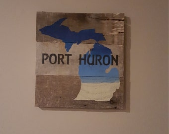 Port Huron Michigan rustic pallet wood sign