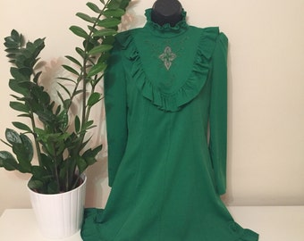 Vintage fern green dress 1960s