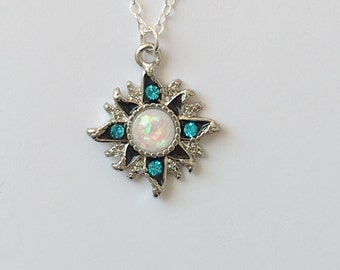 White Opal Sun Necklace. Gold Silver Necklace. Opal Necklace.