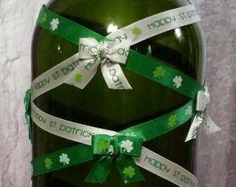 St. Patrick's Day decor wine bottle