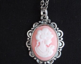 pink and white cameo necklace